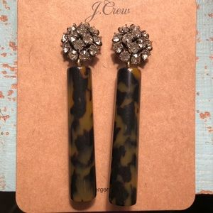 NWT J Crew crystal and tortoise drop earrings